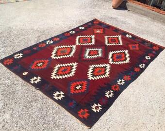 """Area rug, kilim rug, kelim rug, 100"""" X 66"""", vintage rug, rug, rustic rug, rugs, tribal rug, floor rug, unique pattern area rug, Burgundy,707"""