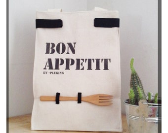 Cotton, canvas lunch bag, with handles and reusable wooden fork