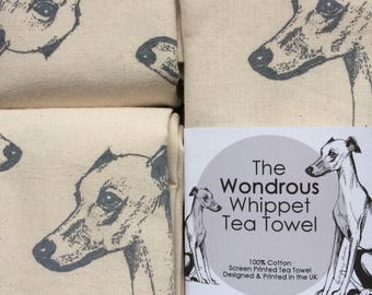 Whippet Tea Towel, Wondrous Whippet Screen-printed Tea Towel. Whippet gifts for the home and kitchen