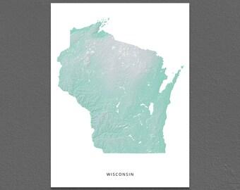 Wisconsin Map Print, Wisconsin State, Aqua, WI Landscape Art