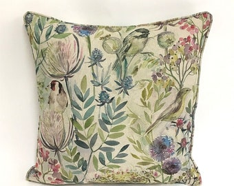 Voyage Fabrics - Morning Chorus  in Linen -  Cushion Covers - Pillow Throws Beautiful Fabric - many sizes available
