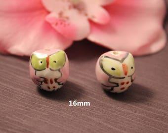 2 ceramic OWL OWL Rose 16 mm beads