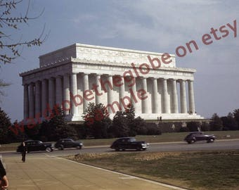 1940s Color Photo. 1942 Washington DC. Lincoln Memorial. Antique Cars. No Traffic. DIGITAl DOWNLOAD 4 Printing. Architecture History Art