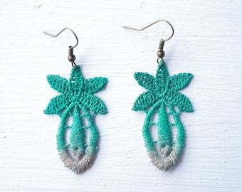 Green and Tan Ombre Pineapple Lace Statement Earrings