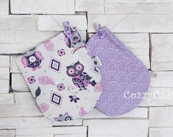 Burp Cloth, Purple Owl Burp Cloth, 100% Cotton, Flannel Burp Cloths, Baby Burp Cloths, Newborn Set, Set of 2 Burp Cloths, Purple, Baby Gift