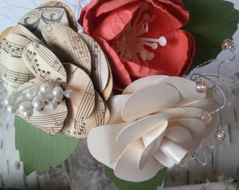 Song sheet, coral, shimmer ivory paper flower wrist corsage, perfect for mother of the bride or grandmother of the bride, prom accessory
