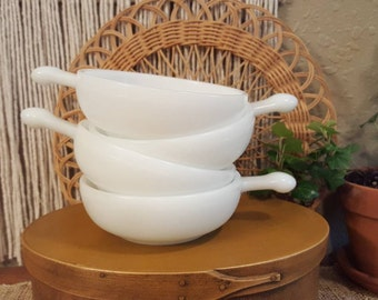 Vintage milk glass soup bowls.   Glasbake milk glass handled bowls.  Glass bake, vintage kitchen, farmhouse