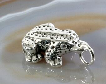 Frog, pendant, 925 sterling silver, electroforming - 4782