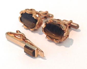 Mid Century Cufflink set Tiger Eye
