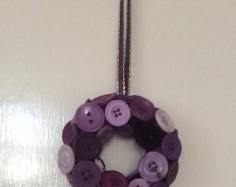 Mini purple button wreath