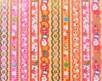 Japanese Washi Stickers Cherry Plum Blossoms Sticker Strips Traditional Japanese (S75)