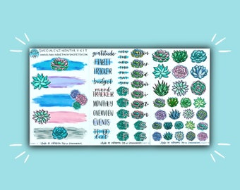 Succulent Monthly Kit   Succulent Planner Stickers   Monthly Bullet Journal Sticker Kit   Stickers for Planners, Journals, and More