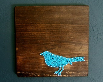 Blue Bird Silhouette- Modern String Art Tablet