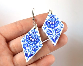 blue jewelry blue earrings wife gift for women birthday gift wedding gift bridal jewelry anniversary gifts pretty earrings white earrings