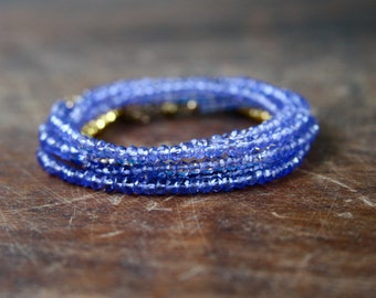 Blue Agate Beaded Wrap Bracelet Genuine Gemstone Yoga Inspired Sparkly Faceted Delicate Crystal Spiritual Jewelry Grey Gold Wrap Bracelet