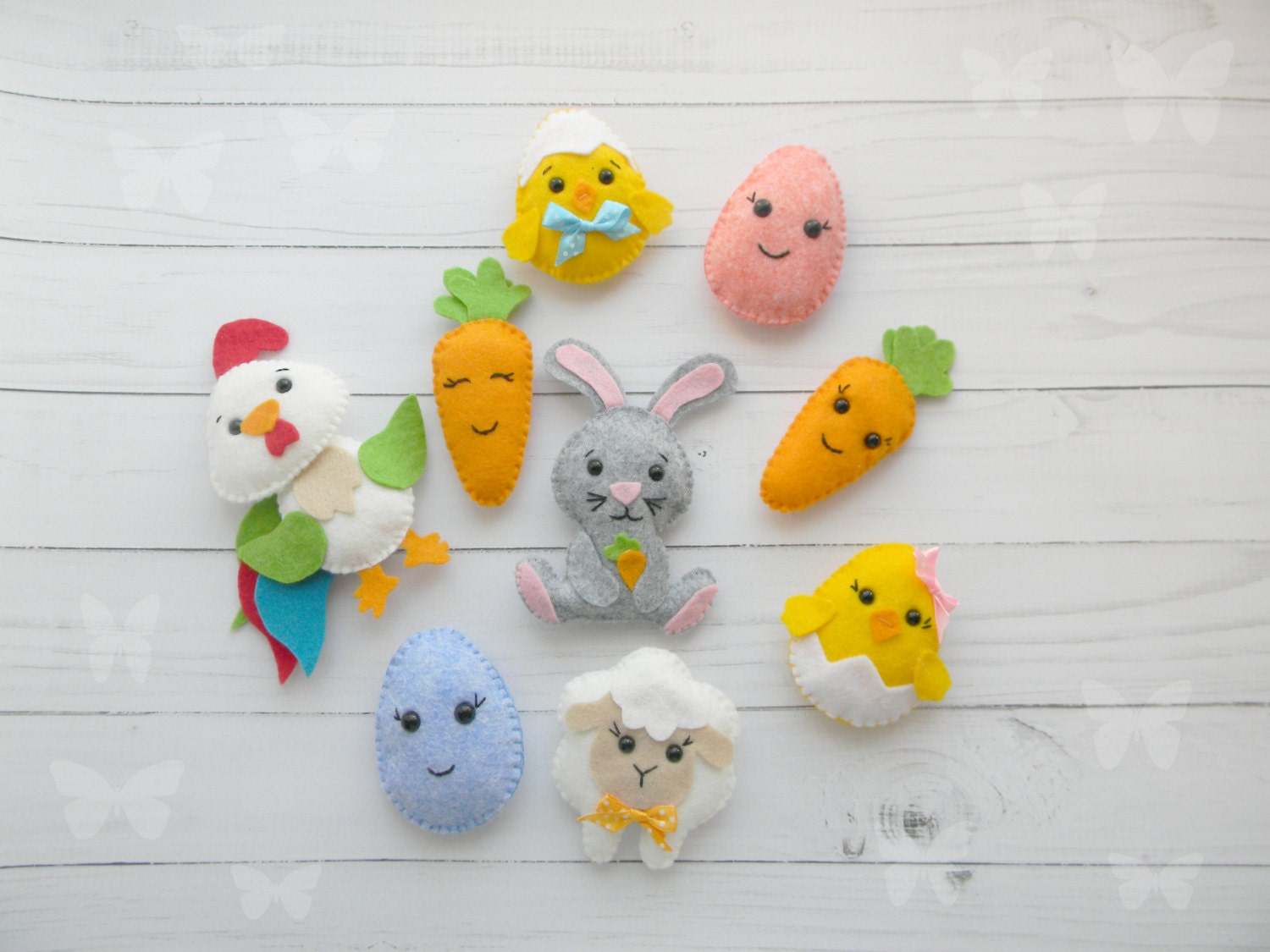 Felt easter decoration felt bunny chicken eggs rooster lamb zoom negle Images
