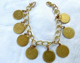 Vintage French Bracelet, Paris Coin Bracelet, Oui Non Coins, Vintage Paris Jewelry, Parisian Jewelry