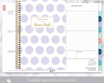 2018 planner | 2018-2019 calendar | weekly student planner add monthly tabs | personalized planner agenda | lavender and gold polka dots