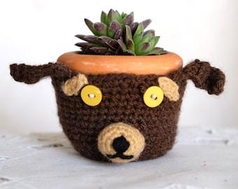 "Succulent planter: ""CUTE CACTUS PLANTER"" Mini Planter,Dog pot Holder,Cute Plant pot,Modern Planter,Small Succulent Pot,housewarming gift K11"