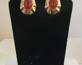 Gold plated brass raindrop stud earrings with carnelian