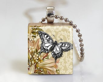 Butterfly Vintage Altered Art - Scrabble Tile Pendant - Free Ball Chain Necklace or Key Ring