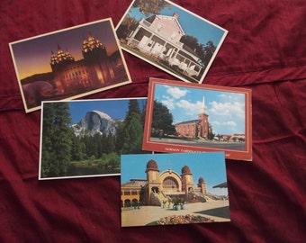 Set of Five 5 Vintage Postcards - Postcard - Utah and Yosemite
