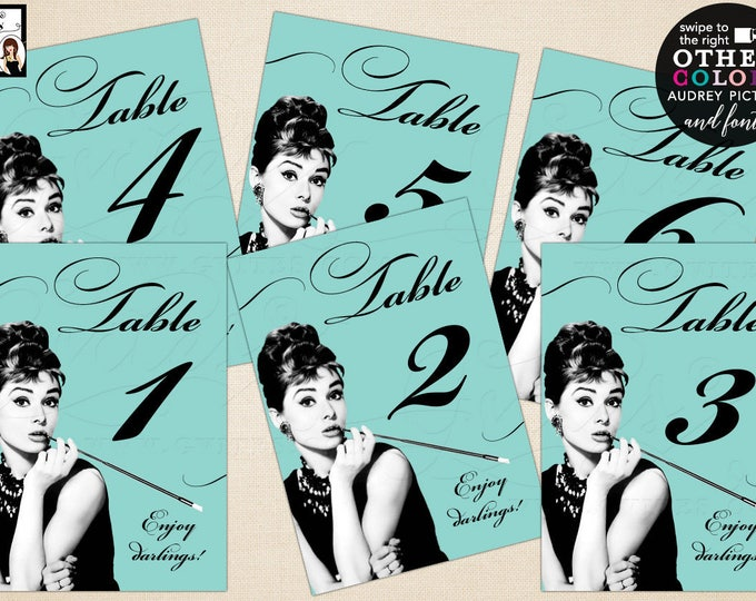 Breakfast at Tiffany's Table Numbers  Audrey Hepburn table party, ready to frame. CUSTOMIZABLE, 5x7. Digital File Only {Table 1-20}