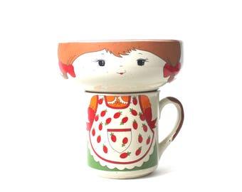 Speckled Stoneware Mug and Bowl Set with Sweet Little Girl Brunette Vintage Childs Made in Korea