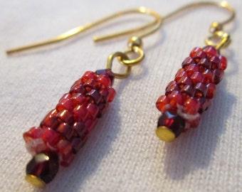 Crimson Delica Beaded Earrings