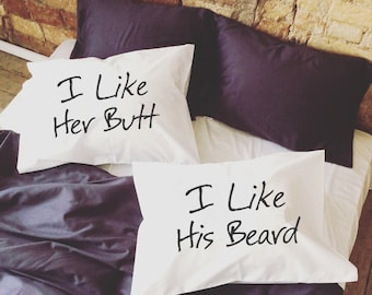 I Like Her Butt I Like His Beard gift Couple Pillow cases Bridal Shower Wedding 2nd Cotton Anniversary Pillowcases Engagement Newlywed Gifts
