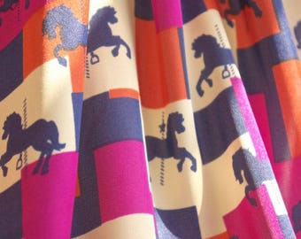 Carousel Pony Block Print Fabric - 58 Inches Wide