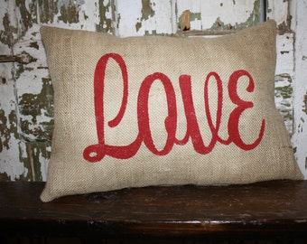 Valentine Pillow, Love Valentine, Burlap, Canvas Pillow Cover, Throw Pillow