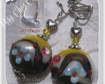 "CLIPS OR CHOOSE GLASS LAMPWORK CRYSTALS EARRINGS ""SUN FLOWER"""