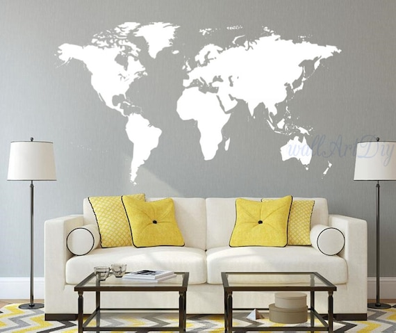 Vinyl world map wall decal white world map wall sticker large vinyl world map wall decal white world map wall sticker large world map wall mural custom world map wall decal giant world map wall stencils gumiabroncs Image collections