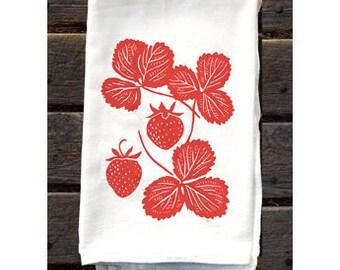 KTF4: Strawberry Flour Sack Kitchen Towel
