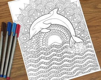 Coloring Pages For Adults Dolphins : Sea life coloring etsy