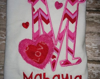 Girls Valentines Shirt Baby Toddler Infant Heart Chevron Valentine's Day Personalized Embroidered Shirt T-Shirt! Sizes  2 ,3, 4, 5, 6, 7, 8