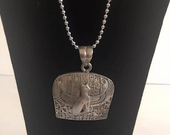 Vintage  Egyptian Silver Cat Pendant/Chain Stamped Made in Egypt