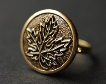 Maple Leaf Ring. Gold Ring. Leaf Embossed Ring. Nature Ring. Button Ring. Adjustable Ring. Handmade Ring. Handmade Jewelry.