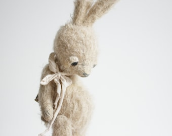Made To Order Mohair Rabbit 7 Inches Stuffed Animal Plush Bunny Handmade Toy Soft Toys Personalized Gift For Her Artist Teddy Bear