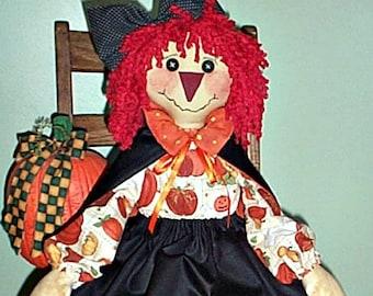 Rag Doll Pattern, Primitive Witch Doll Pattern, Cloth Doll Pattern, Halloween Raggedy PDF Pattern, Fall E-Pattern, Haggedy Raggedy
