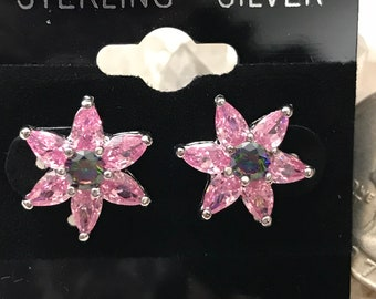 Mystic and Pink Topaz Stud Earrings