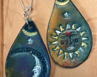 Sun and Moon Leather Earrings