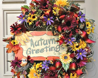 Autumn Greetings Wreath, Fall Front Door Wreath, Thanksgiving Floral Wreath, Grapevine Fall Wreath, Fall Fireplace Wreath, Door Decor