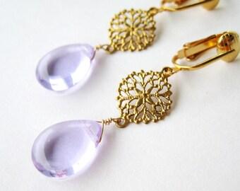Lavender Teardrop Clip-on Earrings, Light Purple Glass Drop Clip Earrings Gold Filigree Medallion Earrings For Non Pierced Ears, Gail Lilac