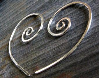 Dainty minimalist small sterling silver open spiral earrings. Simple wire work lightweight everyday modern jewelry. Delicate for her. Sonia