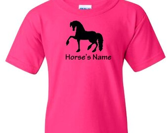 Friesian Black Horse Personalized/Custom T-Shirt with Horse's Name
