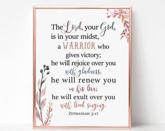Scripture Wall Art Print - Zephaniah 3:17 - Bible Verse Wall Art Print - Christian Gift - Religious Gift - Home Decor - Typography -