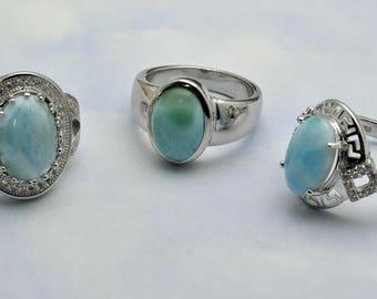 Larimar Rings (Under Wholesale) 3 Rings Premium Jewelry. .925 Sterling Silver