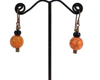 Orange Black Earrings, Halloween Earrings, Modern Jewelry, Boho Earrings, Hypoallergenic Earrings, Beaded Earrings Cheap Earrings Minimalist